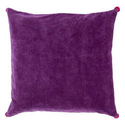 """Surya - Surya VP-002 Vivacious Velvet Pillow, 22""""x22"""", Down Feather Filler - Both fun and functional, this is the perfect pillow to update your home's decor. Featuring a solid purple backdrop paired harmoniously with intricate pink pom poms added to each corner, this pillow is a classic solution to renovating any space. This pillow contains a zipper closure and provides a reliable and affordable solution to updating your home's decor. Genuinely faultless in aspects of construction and style, this piece embodies impeccable artistry while maintaining principles of affordability and durable design, making it the ideal accent for your decor."""
