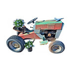 Tractor - It is a vintage piece with that Industrialish charm. The tractor reminds me of simpler days of summer with the scent of fresh cut lawns. This tractor is metal and is faded red and green a bit of rust for charm with airplane mounted on the hood is very cool.