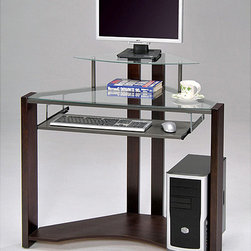 None - Cherry-finished Four-shelf Computer Desk - This compact, glass computer desk is the perfect space-saving solution for your home office. Featuring a hardwood cherry frame and two glass shelves, this desk will fit nicely in a corner without appearing cluttered.