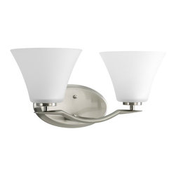 Progress Lighting - Progress Bathroom Light with White Glass in Brushed Nickel Finish - P2005-09 - Transitional brushed nickel 2-light bathroom light. Takes (2) 100-watt incandescent A19 bulb(s). Bulb(s) sold separately. UL listed. Damp location rated.