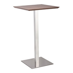"Zuo - Zuo Malmo Stainless Steel Bar Table - Zuo Malmo Stainless Steel Bar Table. Zuo Malmo bar table. Stainless steel construction. Walnut table top. Simple yet modern. Assembly required. From the Malmo collection. 23 1/2"" wide. 23 1/2"" deep. 41 1/4"" high.  Zuo Malmo bar table.  Stainless steel construction.  Walnut table top.  Simple yet modern.  Assembly required.  From the Malmo collection.  23 1/2"" wide.  23 1/2"" deep.  41 1/4"" high."