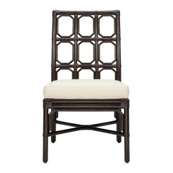 """Selamat - Brighton Clove Side Chair - Borrowing English garden influence, the Brighton side chair's trellis pattern mingles stylishly in a modern setting. This smart geometric design lends a lighthearted note in clove brown. 20""""W x 24.5""""D x 37""""H; Sustainably-grown rattan with leather bindings; Hand-stained finish; Upholstered rice fabric with poly fiber fill"""