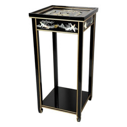 Oriental Furniture - Oriental Pedestal - Black Mother Of Pearl Ladies - Hand-crafted by artisans in the Guangdong province of mainland China and inspired by Chinese craftsmanship of the 18th Century, this 29 inch lacquered end table features a single drawer and a convenient bottom shelf. Hand-finished in a rich, clear lacquer, this stand is an elegant way to display your favorite plant or objet d'art.