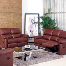 Dona Italian Leather Reclining Sofa Set - Plush comfortable cushioned seating and rich 100% genuine Italian leather upholstery create the perfect sofa set for your livingroom decor in the Dona Italian Leather Reclining Sofa Set.