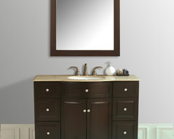"""48"""" Lotus Single Sink Vanity With Travertine Marble Top and Mirror - The 48"""" Lotus Single Sink Vanity is a stylishly prominent piece for any bathroom in your home. Straightforward cabinetry lines are enhanced with an unusual curved front and contemporary metal hardware. The trendy dark brown finish and Travertine Marble top lend sleek sophistication to this piece, while six drawers hide bathroom necessities. Hang the coordinating mirror above for a stunning ensemble."""