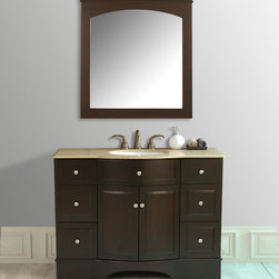 "48"" Lotus Single Sink Vanity With Travertine Marble Top and Mirror - The 48"" Lotus Single Sink Vanity is a stylishly prominent piece for any bathroom in your home. Straightforward cabinetry lines are enhanced with an unusual curved front and contemporary metal hardware. The trendy dark brown finish and Travertine Marble top lend sleek sophistication to this piece, while six drawers hide bathroom necessities. Hang the coordinating mirror above for a stunning ensemble."