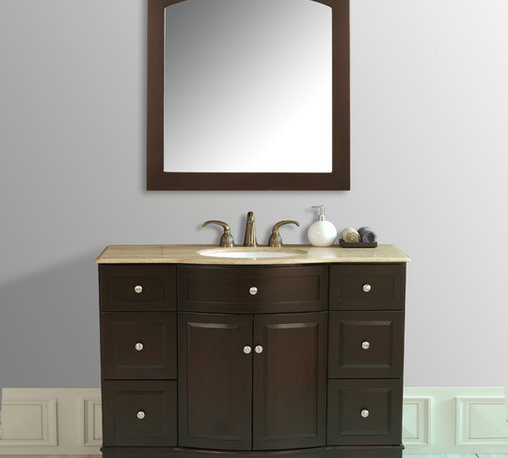 ... hardware. The trendy dark brown finish and Travertine Marble top lend