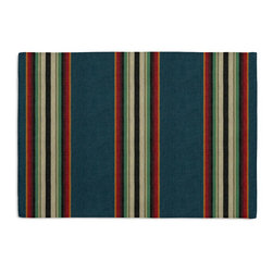 Teal Southwestern Stripe Custom Placemat Set - Is your table looking sad and lonely? Give it a boost with at set of Simple Placemats. Customizable in hundreds of fabrics, you're sure to find the perfect set for daily dining or that fancy shindig. We love it in this southwest inspired stripe of ombre desert reds & oranges against a teal ground.