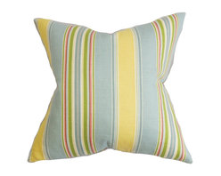 """The Pillow Collection - Hollis Stripes Pillow Blue Yellow 18"""" x 18"""" - Make your living room or bedroom cozier and livelier with this accent pillow. Finished with vertical stripes in alternating shades of blue, yellow, green, pink and white. Mix and match this throw pillow with solids and other patterns for an unconventional decor style. This 18"""" pillow is made of 95% cotton and 5% linen material. Hidden zipper closure for easy cover removal.  Knife edge finish on all four sides.  Reversible pillow with the same fabric on the back side.  Spot cleaning suggested."""