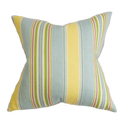 "The Pillow Collection - Hollis Stripes Pillow Blue Yellow - Make your living room or bedroom cozier and livelier with this accent pillow. Finished with vertical stripes in alternating shades of blue, yellow, green, pink and white. Mix and match this throw pillow with solids and other patterns for an unconventional decor style. This 18"" pillow is made of 95% cotton and 5% linen material. Hidden zipper closure for easy cover removal.  Knife edge finish on all four sides.  Reversible pillow with the same fabric on the back side.  Spot cleaning suggested."