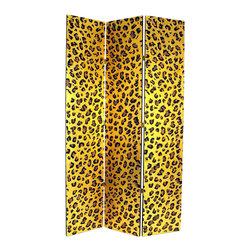 Wayborn - Wayborn Golden Cheetah Look Room Divider in Gold/Black - Wayborn - Room Dividers - 1399 - Wayborn coromandel screen start with a cedar plywood frame covered in a cheesecloth material. Then layer after layer of plaster is applied; each layer must dry before another layer can be applied. After all the plaster has been applied several coats of lacquer is put over the entire surface. The design is drawn onto life-sized paper and carefully traced on to the panels. The craftsman then hand carves the design into the screen through the lacquer into the plaster. Once the screen is done it is painted with water based paint or silver/gold leaf is applied and sealed with a clear lacquer coat.