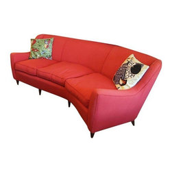 """Used Italian Mid-Century Modern Sofa in Red - This Italian Mid-Century Modern red sofa with a tight back and three plush cushion seats is red-hot.  The gently curved arms and slight """"L"""" curve make it ideal for floating in a room that needs a pop of color. It would look fabulous in a room of just about any style."""