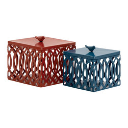 Big, Bold and Unique Metal Box, Set of 2 - Description: