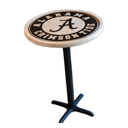 "Just USA Inc - Pub Table Frame, 42"" - These HIGH QUALITY maple tables are designed to allow any 29"" Team Pennant to be placed inside of the maple table ring and includes a glass surface. They are designed to allow the fan to change out the Pennant with one of their choice."