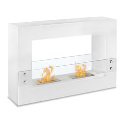 "Ignis Products - Tectum White Freestanding Ventless Ethanol Fireplace - The beauty of this Tectum White free standing Ventless Ethanol Fireplace will warm your heart while its ethanol burner will warm your toes. You'll love its bold, modern look with its white metallic frame and clear glass guard that protects little fingers from the dual ethanol burners inside. This fireplace is ventless, so you don't need to worry with soot, ash, mess, and fuss like you would with a traditional wood burning fireplace, and there's no need for a chimney, electric lines, or gas lines. It is easy to install and its sleek metallic look blends in well with nearly any decor. It burns up to five hours per refill and puts out 12,000 BTUs of heat. Dimensions: 47.1"" x 31.5"" x 11"". Features: Ventless - no chimney, no gas or electric lines required. Easy or no maintenance required. Freestanding - can be placed anywhere in your home (indoors & outdoors). Capacity: 1.5 Liter per Burner. Approximate burn time - 5 hours per Burner per refill. Approximate BTU output - 6000 per Burner (Total BTU - 12000)."