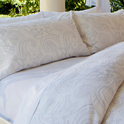 Crane & Canopy - Embroidered Designer Duvet Cover, The Dolores - An elegantly detailed and beautifully embroidered white duvet that is a feminine vision of modern romance. Finishing details include edge piping, a hidden pocket zipper enclosure and interior corner ties.