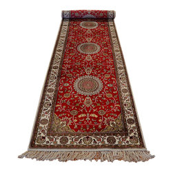 1800GetARug - Kashan Oriental Rug Hand Knotted Rug Silken Red Runner Sh12311 - About Silk