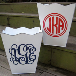 Personalized Trash Can - A cute monogram and scalloped edging punch up a simple trash can that would look perfect in a powder room or kids' room.