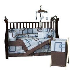 Sweet Jojo Designs - Blue and Brown Geo Crib Bedding Set - The Sweet Jojo Designs 9pc Blue and Brown Geo baby boy crib bedding set will add a sleek and modern style to your child's nursery. This modern designer set features an exclusive Sweet Jojo Designs geometric print with overlapping geo squares and rectangles. The color palette blends Blue, Brown, and White.