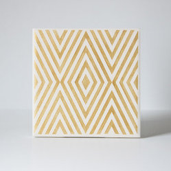 Gold Diamond Coasters, White and Gold by The Coastal