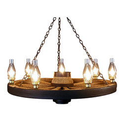 Muskoka Lifestyle Products - Large Wagon Wheel Chandelier Chimney Lights - The Wagon Wheel Reproduction Chandelier with a rustic finish is the perfect addition to any room to provide a western look with an authentic feel. The process to create the antler chandeliers uses a time proven, cast resin system to ensure perfection in every piece; we have used the same process for the wagon wheels. The wheel is a casting reproduction with hand-stained and rubbed finish to achieve the rustic antique finish and feel. Bring the perfect rustic decor to your home, cabin, or office with these chandelier reproductions. From the large majestic options to the quiet accent lights, our reproduction chandeliers are perfect for entry ways, pool tables, dining room tables, living rooms, offices, or anywhere you want to hang them to create the perfect, natural look in any room. All chandeliers are UL listed to ensure absolute safety, quality, and US building code parameters are met.