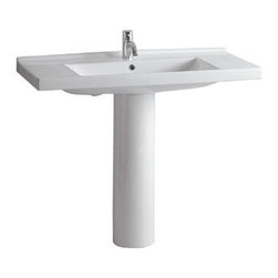 Whitehaus Collection - #N/AWhitehaus LU040-LU005 White Porcelain Rectangular Bathroom Pedestal Sink - White porcelain rectangular bathroom pedestal sink by Whitehaus is bringing elegant touch to any modern or traditional decorated bathroom. White porcelain bathroom pedestal sink is a great and useful detail for your bathroom. It is easy to install, simple to use and it will be white and shinny like on the first day.
