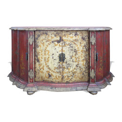 Koenig Collection - Old World Buffet Miraflores, Red Baroque With Sage Green And Cream With Scrolls - Old World Buffet Miraflores, Red Baroque with Sage Green and Cream with Scrolls