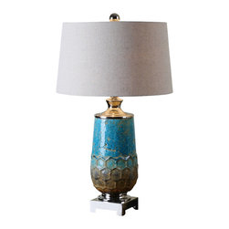 Uttermost - Uttermost Manzu Blue Ceramic Table Lamp - Manzu Blue Ceramic Table Lamp by Uttermost Distressed Metallic Blue Ceramic With Rust Brown Accents And Polished Nickel Plated Details. The Slightly Tapered Round Hardback Shade Is A Light Oatmeal Linen Fabric.