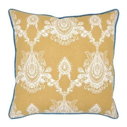 """Villa Home - Pair of Mediterraneo Mimi Gold Pillows by Villa Home - The open paisley design on the Mediterraneo Mimi Gold Pillows by Villa Home has an ethnic flare. The vibrant hue of mustard gold on the linen/cotton blend fabric is piped in blue for detail. This duo pairs beautifully with the Liana Pillows. (VH) Sold as a pair. Feather down inserts included. 22"""" wide x 22"""" high"""