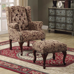 Coaster - Traditional Tufted Wing Back Chair w Ottoman - Chair with nail head trimmed classic rolled arms. Cabriole legs. Rectangular ottoman. Neutral leafy fabric upholstery. Cappuccino finish. Chair: 32.5 in. W x 31 in. D x 41 in. H (Measurements are taken from floor to the top and outer side of the arm to the other). Ottoman: 24 in. L x 17 in. W x 16 in. H. WarrantyCreate a sophisticated traditional style in your living room or family room with this elegant chair and ottoman combo.