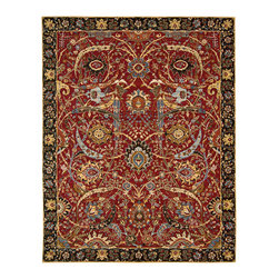 """Nourison - Nourison Rhapsody RH015 7'9"""" x 9'9"""" Red Area Rug 19190 - It doesn't take a king's ransom to own a royal treasure. Nourison has replicated the magnificent splendor of the renowned """"Sickle Leaf"""" carpet from the Corcoran Gallery that broke records with a nearly $34 million Sotheby's auction price. Rich in color with a marvelous intricacy of pattern, its beauty and rarity are deemed """"incomparable"""" by experts in the field. Dating to the 17th century, it is of the Persian textile tradition known as the """"vase"""" technique, with floral forms springing forth from ornate containers that center the design. The exceptional color story encompasses a regal Persian red, ripe persimmon, and a lapidary spectrum of blues ranging from azure to turquoise to deepest sapphire. The elegant border continues the theme of imaginative leaves and blossoms on a network of twirling vines. This ancient design is fresh and alive, its vitality perfectly captured in its new Nourison incarnation."""