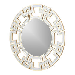 "Abbyson Living - Ziba Gold Round Wall Mirror - The intricate frame design of the Ziba Silver Round Wall Mirror  36"" W x 3"" 6H evokes the golden era of Venetian mirror design (or the silver era, if you prefer its alternative frame color). Beautifully crafted from glass and wood. The simple and sophisticated patterns of this wall mirror makes for a perfect match for  a standout wall accent for any modern home or office."