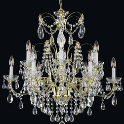 Schonbek - Madison Gold 12-Light Clear Heritage Handcut Crystal Chandelier, 30W x 30H x 30D - -Heritage Handcut Crystal: This crystal is cut by hand in two stages on an iron and then a sandstone wheel. Each crystal is then polished on a wood wheel with marble dust. The most authentic handcrafted crystal in the world.  - Modeled in the grand tradition of crystal lighting, Madison reflects the balanced proportion of the iconic crystal luminaire. This heirloom-quality piece is elegantly adorned with Heritage Handout crystal trim, completing the classic design.  -Clear Heritage Handcut  - Wire Length (in inches): 153  - Light Source: Incandescent Bulb  - Bulbs not included  - Chain Length (in inches): 40  - Uses standard line volt dimmer  - Some assembly required  - For shipping outside of USA, please contact Bellacor customer service  - Cleaning and Care Instructions: Every Schonbek product is of heirloom quality and will last for generations. To ensure it retains its brilliance and splendor for years to come, proper care and regular cleaning are necessary. It is recommended that Schonbek products, and particularly their crystal trim, be lightly dusted with a feather or lambswool duster, or soft brush every two months, or whenever it appears dull or dusty. Consult the fixtures trim diagram for detailed cleaning instructions list of approved cleaning solutions. Schonbeck fixtures should never be subjected to any chemical cleaning agents. - See packaging insert for warranty information. Schonbek  - 1596-20H
