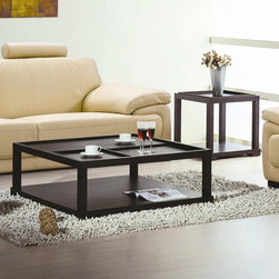 Hokku Designs - Parson Coffee Table Set - Features: -Parson collection. -Wenge finish. -Construction: Wood solids and veneer on medium density fiberboard. -Removable serving tray. -Manufacturer provides one year warranty.
