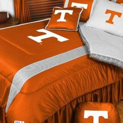 Sports Coverage - Tennessee Volunteers NCAA Bedding - Sidelines Comforter and Sheet Set Combo - Tw - This is a great Tennessee Volunteers NCAA Bedding Comforter and Sheet set combination! Buy this Microfiber Sheet set with the Comforter and save off our already discounted prices. Show your team spirit with this great looking officially licensed Comforter which comes in new design with sidelines. This comforter is made from 100% Polyester Jersey Mesh - just like what the players wear. The fill is 100% Polyester batting for warmth and comfort. Authentic team colors and logo screen printed in the center. Microfiber Sheet Set have an ultra-fine peach weave that is softer and more comfortable than cotton! This Micro Fiber Sheet Set includes one flat sheet, one fitted sheet and a pillow case. Its brushed silk-like embrace provides good insulation and warmth, yet is breathable. It is wrinkle-resistant, stain-resistant, washes beautifully, and dries quickly. The pillowcase only has a white-on-white print and the officially licensed team name and logo printed in team colors. Made from 92 gsm microfiber for extra stability and soothing texture. Sheet Sets are plain white in color with no team logo.   Includes:  -  Flat Sheet - Twin 66 x 96, Full 81 x 96, Queen 90 x 102.,    - Fitted Sheet - Twin 39 x 75, Full 54 x 75, Queen 60 X 80,    -  Pillow case Standard - 21 x 30,    - Comforter - Twin 66 x 86, Full/Queen 86 x 86,