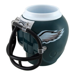 Zeckos - NFL Philadelphia Eagles Helmet Shaped Can, Bottle Cooler Fan Mug - This helmet-shaped can, bottle holder, or mug is the perfect gift for any Philadelphia Eagles fan It measures 5 inches high and approximately 5 1/2 inches in diameter. It keeps drinks hot or cold, and the 13.5 ounce removable cup is BPA free and dishwasher safe. The facemask is the handle, and it accommodates most 12 ounce bottles or cans or your favorite beverage. The mug is also suitable for use as a pencil cup at home or in the office. This product is officially licensed by the NFL.