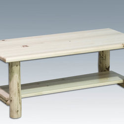 """Montana Woodworks - Montana Coffee Table with Shelf, Lacquered - This delightful coffee/accent table with 44"""" x 13"""" shelf underneath adds just the right amount of rustic styling to your living room or other indoor area. Used in conjunction with the Montana Woodworks nightstands/end tables, this group of rustic, yet refined accent tables can add the finishing touches to any home, office, waiting room or common area. Handcrafted using solid, American grown wood with hand peeled genuine lodge pole pine legs. Some assembly required. 20-year limited warranty included at no additional charge. Hand Crafted in Montana U.S.A.; Solid, U.S. grown wood; Skip-peeled by hand using old fashioned draw knives.; Heirloom Quality; 20 Year Limited Warranty; Durable Build, Fit and Finish; Each Piece Signed By The Artisan Who Makes It; Solid Wood, Edge Glued Panels; Convenient, Sturdy Shelf. Dimensions: 24""""W x 48""""L x 18""""H"""