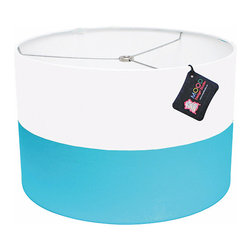 """Mood Design Studio - Modern Color Block Drum Lamp Shade, 16""""w - Mood Design Studio brings bold, modern, and colorful accessories into your home. All of our designs begin on paper by sketching ideas for fabric collections. We research color trends and mix in inspiration from the fashion runways as well as from our favorite mid century design books. Our fabrics are printed in the USA using eco friendly dyes and printing methods."""
