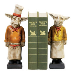 Joshua Marshal - Pair Chef Pig Bookends - Pair Chef Pig Bookends