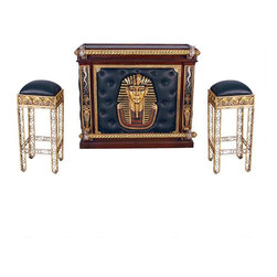 EttansPalace - Ancient Collectible Pharaoh Tut Altar of Tenenit Pub Bar with Two Bar Stools - To delight the pharaoh in us all, our Egyptian-themed bar and stools greet guests with the style of King Tut, whose image adorns the front, surrounded by tufted faux-leather side panels. Twisted, golden scepter arm rests and footrests are supported by images of Renenutet, the winged cobra goddess. Imagine serving drinks from behind our quality designer resin altar console, hand-painted in the faux gold, silver and ebony tones of the Egyptian palette. The open back of our bar reveals racks designed to hold up to 14 bottles of your favorite wine or liquor, six rows of stemware holders that accommodate up to 18 wine glasses depending on diameter, two generous storage drawers with metal pulls, and six deep storage shelves that provide additional space for bar supplies. Included are two backless, quality designer resin barstools that feature faux-leather seats and scrolled metal legs.