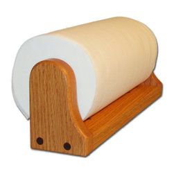 """American Family Woodworking - Oak Paper Towel Holder (Mounted), Honey - UNDER CABINET OR WALL-MOUNTED PAPER TOWEL HOLDER Our Oak paper towel holder features a spring loaded hardwood rod to hold your paper towel roll in the Oak frame. This holder can be mounted under a cabinet or on a wall, either horizontally or vertically using the pre-drilled mounting holes. This is not your plain, boring, plastic paper towel holder! This is a truly a unique kitchen accessory which fits perfectly in all kitchens! This completely handmade paper towel holder is also perfect for the laundry room, garage or workshop. What about your craft room! Even the office! Size: 13 1/4"""" x 3"""" x 4 1/2"""" This paper towel holder also stands out from the rest, because it includes a FULL Spring Loaded Towel Rod. This towel rod is a hardwood design, and high quality."""