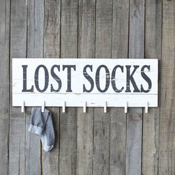 Lost Socks Hanger - Don't let the dryer win���keep tabs on your lost socks with this charmingly rustic plaque. It has pins for up to 7 single socks for a sure shot at making a match.