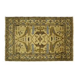 Manhattan Rugs - New Magnificent Oriental Oushak 4'x6' Hand Knotted Wool Ivory Veg Dyed Rug H5599 - Oushak rugs originated in the small town of Oushak in west central Anatolia, roughly 100 miles south of the city of Istanbul in Turkey. Oushak has produced some of the most decorative Persian influenced rugs of all times. Oushak has been a production center of Turkish rugs since the 15th century. In the late 15th century the 'design revolution' took place. Before, producing carpets was part of the nomad culture, meeting people's daily needs, but for the first time the works of designing and weaving rugs were split in two. These Turkish rugs began to be produced commercially. From the 16th up to the 18th century the most famous manufacturers of ottoman times worked in Oushak. A special heirloom wash produces the subtle color variations that give rugs their distinctive antique look.