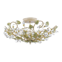 Crystorama - Crystorama Josie Flush Mount Ceiling Fixture in Champange Green Tea - Shown in picture: Semi flush mount with clear crystal accents and wrought iron handpainted in Champagne Green Tea finish.; Sunshine on a summer garden was the inspiration for Crystorama�s Josie Collection. The Champagne Green Tea finish is a nice blend of pale green - yellow - sage - and a hint of gold wash. The clear crystal accents finish the detailing nicely.