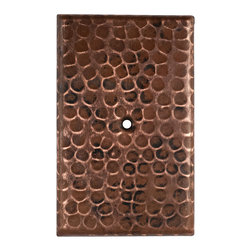 Premier Copper Products - Blank Copper Switch Plate Cover - Single Hole - Blank Hand Hammered Copper Switch Plate Cover