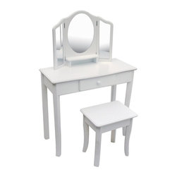 Guidecraft - Guidecraft Classic White Vanity and Stool - G85710 - Shop for Vanities from Hayneedle.com! The Guidecraft Classic White Vanity and Stool beautifully combines design function and features. This set includes a vanity with storage drawer spacious top and three-sided acrylic Mylar mirror. The coordinating stool has secret storage under the seat top. This two-piece set is made of birch with a soft white matte finish and durable UV coating. Gentle scalloped details and flared legs make this vanity and stool set a pretty match to any decor. Some assembly required. Designed for kids 3 and older. Make dress-up time extra fun!About GuidecraftGuidecraft was founded in 1964 in a small woodshop producing 10 items. Today Guidecraft's line includes over 160 educational toys and furnishings. The company's size has changed but their mission remains the same; stay true to the tradition of smart beautifully crafted wood products which allow children's minds and imaginations room to truly wonder and grow.Guidecraft plans to continue far into the future with what they do best while always giving their loyal customers what they have come to expect: expert quality excellent service and an ever-growing collection of creativity-inspiring products for children.