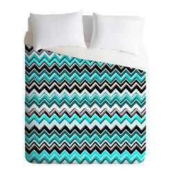 DENY Designs - madart inc Turquoise Black White Chevron Duvet Cover - Turn your basic, boring down comforter into the super stylish focal point of your bedroom. Our Luxe Duvet is made from a heavy-weight luxurious woven polyester with a 50% cotton/50% polyester cream bottom. It also includes a hidden zipper with interior corner ties to secure your comforter. it's comfy, fade-resistant, and custom printed for each and every customer.