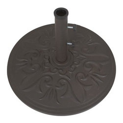 "Galtech 45-lb. Cast Aluminum Umbrella Base - Add the finishing touch to your shaded outdoor dining set with the Galtech 45 lb. Cast Aluminum Umbrella Base. Constructed of weather-resistant cast aluminum, this decorative base is available in several powder coated finishes. Long and short tubes are included for use with various sized umbrellas. This base is designed to be used with umbrellas that are mounted through patio tables. It is not recommended for use as a free-standing umbrella base.Galtech International strives to create the most innovative market umbrellas available to the casual marketplace. Whether it is using a stainless steel cable or applying six layers of varnish, Galtech has always desired to make a ""better market umbrella,"" an umbrella that everybody who purchases would be extremely proud to have showcased in their backyard."