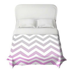 DiaNoche Designs - Duvet Cover - Chevron Pink Grey - Lightweight and super soft brushed twill Duvet Cover sizes Twin, Queen, King.  Cotton Poly blend.  Ties in each corner to secure insert. Blanket insert or comforter slides comfortably into Duvet cover with zipper closure to hold blanket inside.  Blanket not Included. Dye Sublimation printing adheres the ink to the material for long life and durability. Printed top, khaki colored bottom, Machine Washable, Product may vary slightly from image.