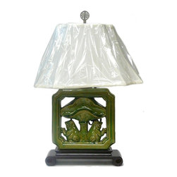 Golden Lotus - Chinese Green Porcelain Tile Shape Lotus Frog Table Lamp - This is an oriental table lamp with theme of two frogs under a lotus umbrella.
